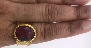 Organic Hammered Ring .925Sterling Silver Gold Filled with Watermelon Tourmaline