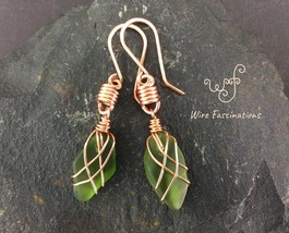 Handmade emerald green sea glass earrings criss cross copper wire wrapped - $29.00