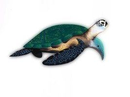 Sea Turtle hand Carved painted from large Palm Tree Frond, tortoise naut... - $104.73 CAD