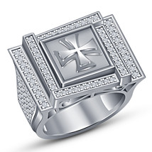 White Gold Over 925 Silver White Diamond Mens Engagement Wedding Band Pi... - $182.99