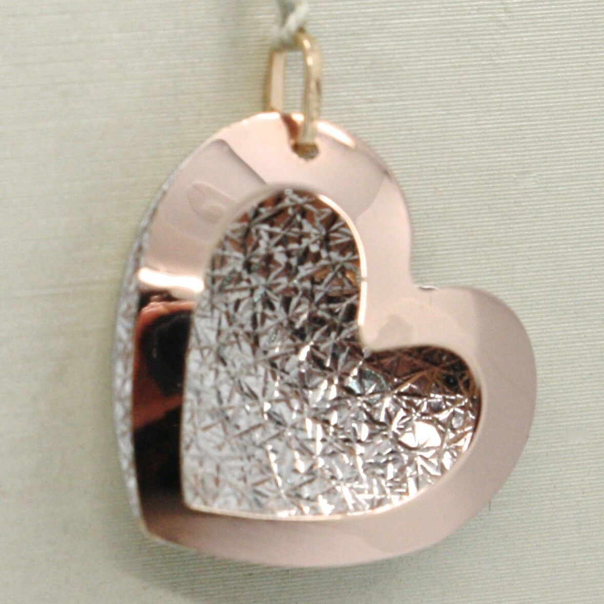 18K ROSE & WHITE GOLD DOUBLE HEART PENDANT, CHARMS, FINELY WORKED, MADE IN ITALY
