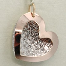18K ROSE & WHITE GOLD DOUBLE HEART PENDANT, CHARMS, FINELY WORKED, MADE IN ITALY image 1