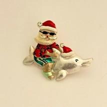 Santa Claus riding a Dolphin Wearing Shorts & Sandals Enamel Brooch Pin ... - $8.90