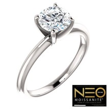 1.25 Carat (7mm) (EF Colorless) NEO Moissanite Solitaire Ring in 14K Gold - $899.00