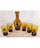 Weinfest Daphni 1970 Greichenland Amber Carafe 5 Double Shot Glasses Gre... - $77.58