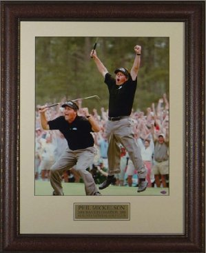 Primary image for Phil Mickelson unsigned 2004 Masters Jump 2 pose 11x14 Leather Framed
