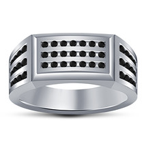 14k White Gold Over 925 Silver Lab Created Black Diamond Mens Wedding Band Ring - £83.50 GBP