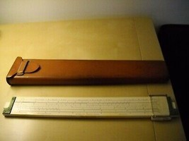 Vintage KEUFFEL & ESSER CO K&E 1947 Slide Drafting Ruler Architect LEATH... - $27.41