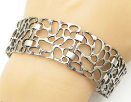 925 Sterling Silver - Vintage Spotted Cutout Design Chain Bracelet - B5357 - $89.67