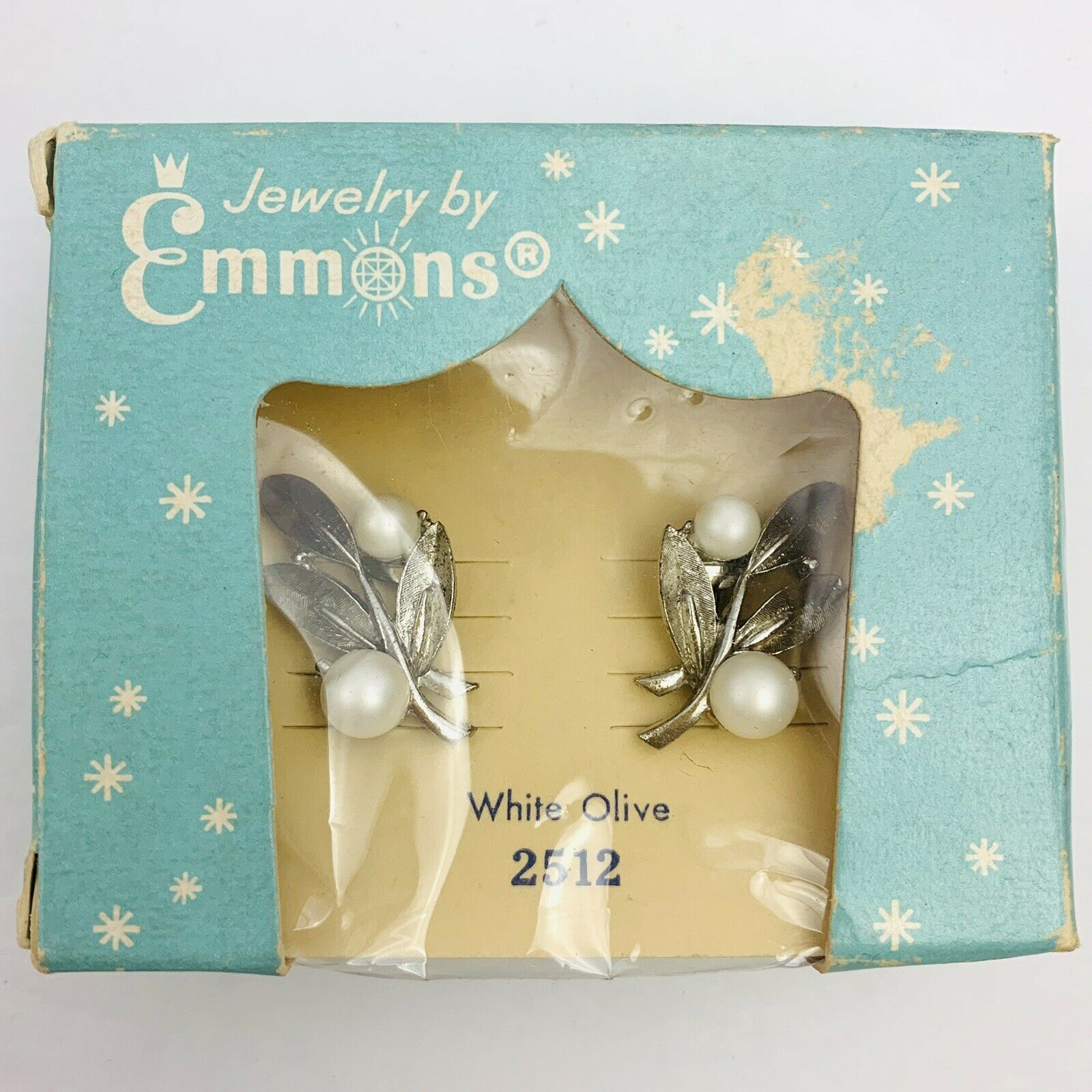Primary image for Vintage Emmons Clip On Earrings White Olive 2512 ORIGINAL BOX Faux Pearl