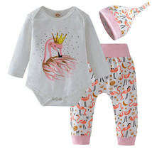 NWT Swan Princess Baby Girls Bodysuit Pants & Headband Outfit Set - $9.89