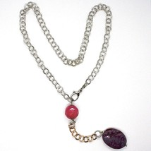 Necklace Silver 925 Pink, Jade Purple Oval, Chain Rolo ' Hammered image 2