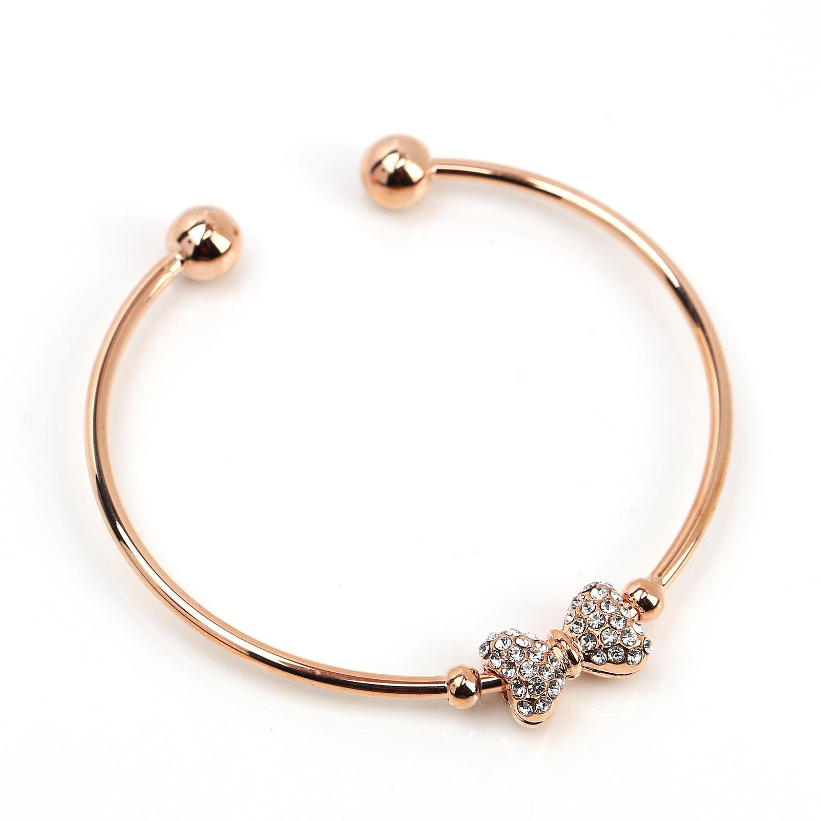 UE- Trendy Rose Tone Designer Bangle Bracelet With Swarovski Style Crystal Bow