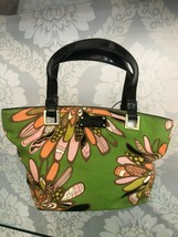 KATE SPADE Green & Pink Floral Print Canvas/Black Patent Top Handle Bag ... - $95.93