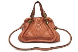 Auth Chloe Paraty Python & Leather Shoulder Hand Bag Pink F/S Japan - $1,286.01