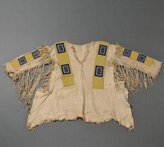 Men Native American Buckskin Beige Buffalo Leather Beaded Powwow War Shirt NA266 - $299.00