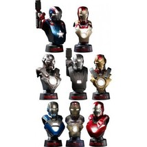 NEW HOT TOYS BUST Iron Man 3 DELUXE SET OF 8 with MARK 42 1/6 Bust Figur... - $365.50