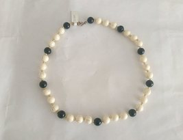 Vintage Retro Black and White Beads Necklace - $12.00
