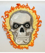 """Skull and Flames 6"""" Large Back Patch Embroidered Iron On NEW - $12.86"""