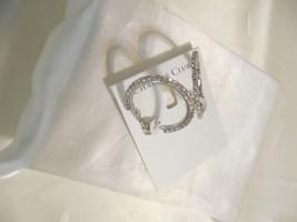 """Charter Club 1-3/8"""" Silver Tone Crystal Hoop Earrings C463 $34 - $14.39"""