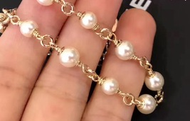 100% Authentic CHANEL 2017 Double Strand Pearl Bracelet CC Charm Gold image 4