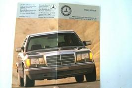 1986 mercedes  owners price card sales brochure used original 560sl 560sec w107 - $19.79