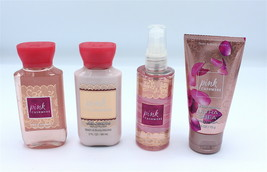 Lot of 4 Travel Minis Bath Body Works Pink Cashmere Body Lotion Mist Cre... - $18.99