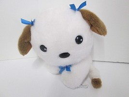 White Anime Style Puppy Dog Blue Bows King Plush Stuffed Animal - $12.59
