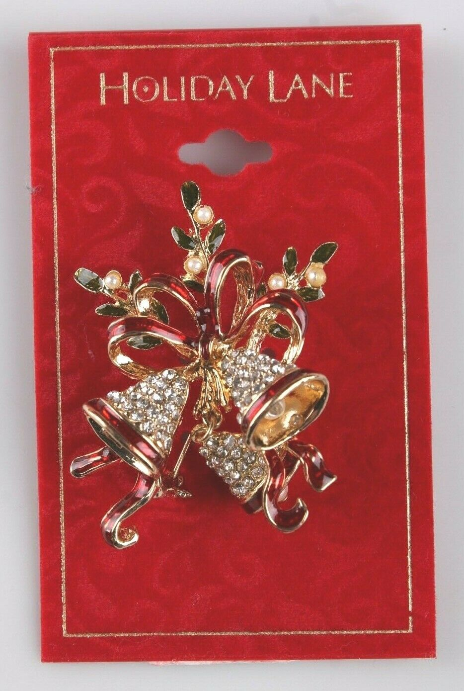 Primary image for Macy's Holiday Lane CZ Crystal Christmas Bells Brooch Pin New on Card
