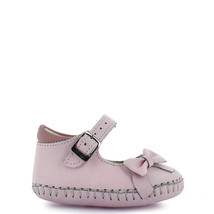Girl's Rilo baby pink bow leather crib shoe - $38.98