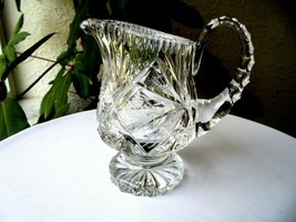 Hand Cut Crystal Table Creamer Pitcher - $13.86