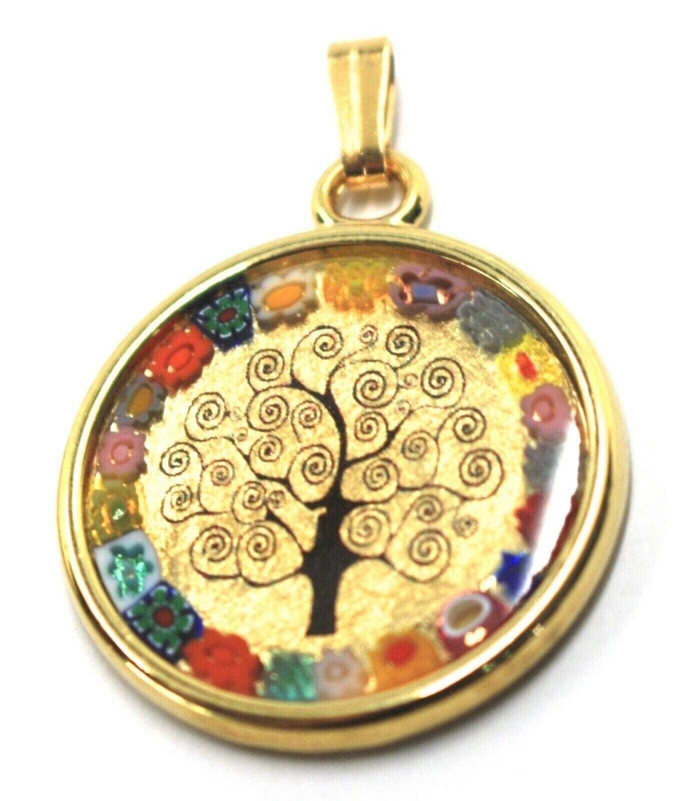 "MURANO GLASS ROUND MEDAL PENDANT TREE OF LIFE, 25mm 1"", FLOWER FRAME, GOLD LEAF"