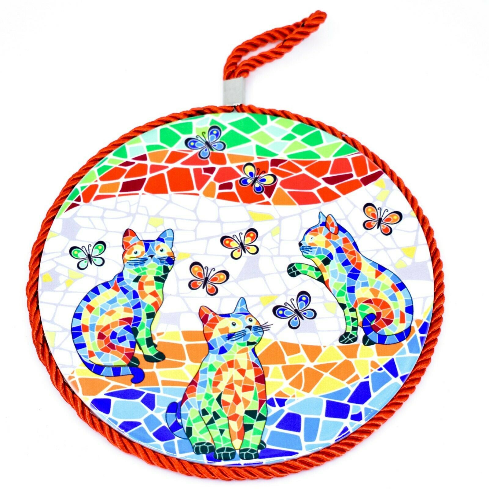 """Ole Mosaic Colorful Printed Cats Kittens with Butterflies 6.75"""" Hanging Trivet"""