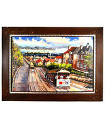 "San Francisco Trolley Cars/Bay Area View Framed Print on Canvas 24""x36"" - $499.41"
