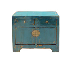 Distressed Teal Blue Lacquer Oriental Mid Size Credenza Table Cabinet cs... - $1,880.00