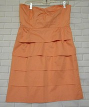J  Crew Size  10 Peach Pale  Strapless Cotton Layered Skirt Lined Dress - $15.55