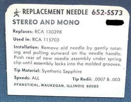 RECORD PLAYER NEEDLE RCA 130398 for 204-1 115276 115277 115302 647-DS73 652-SS73 image 2
