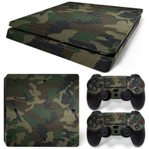 PS4 Slim Green Camo Console & 2 Controllers Decal Vinyl Art Skin Wrap - $14.82