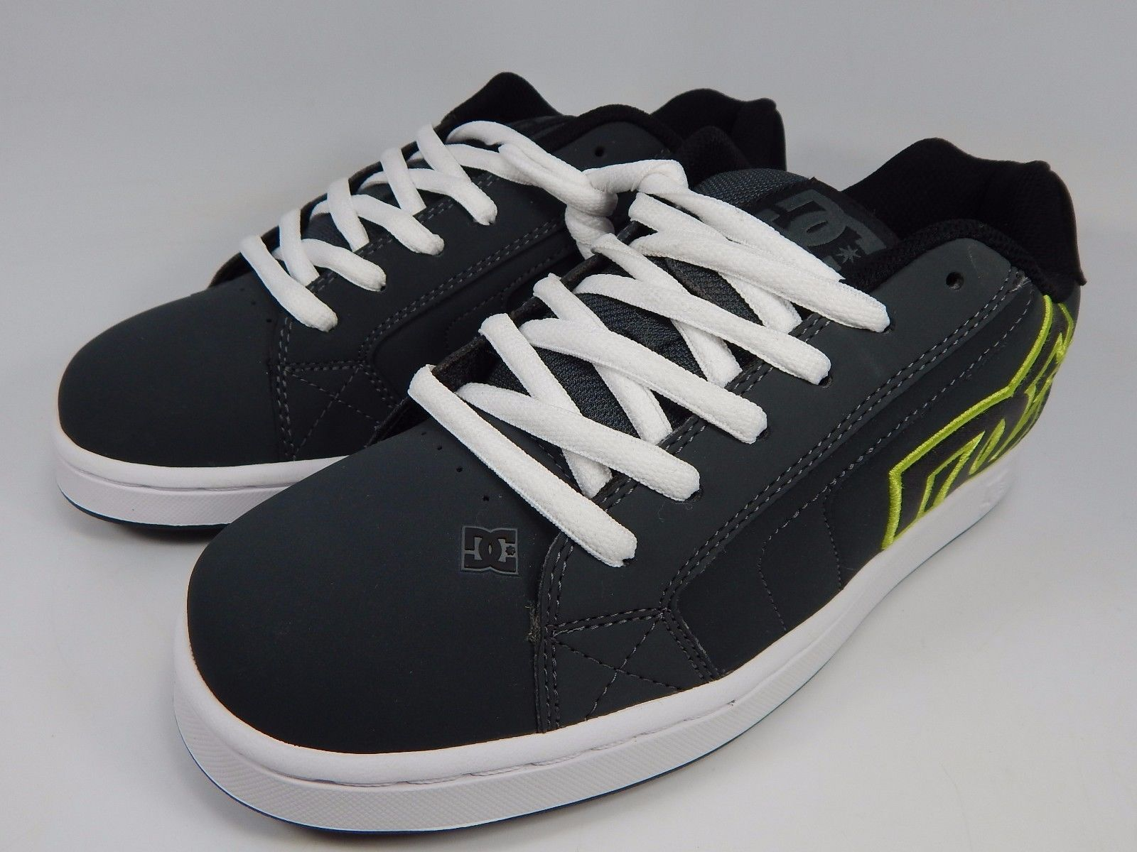 DC Net Leather Men's Skate Shoes Size US 8 M (D) EU 40.5 Gray Black White Lace