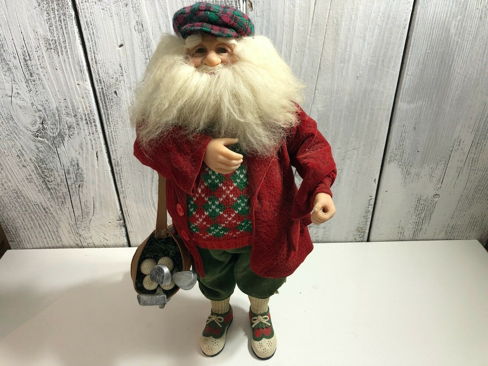 Primary image for 17' Christmas Golfer Santa Claus Figure/Statue Elegantly Dressed & Very USA