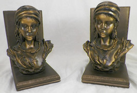 PAIR OF FEMALE GYPSY BUST BOOKENDS - $14.99