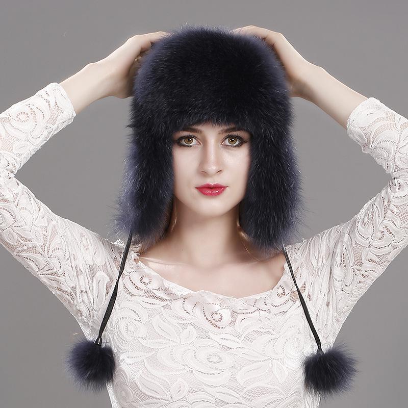 New Women Winter Trapper Hat Genuine Fox Raccoon Fur Russian Ushanka Hat for sale  USA