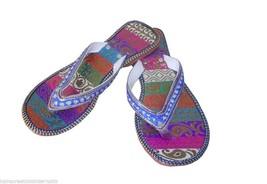 Women Slippers Traditional Indian Handmade Designer Slip On US 6.5  - $24.99