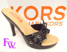 Michael KORS Size 8 Black Slide Heels Sandals Shoes from Italy - $35.20