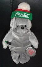 "Coca Cola Coke Gray 8"" Plush Seal in Red, Green & White Puffball Cap wit... - $4.29"