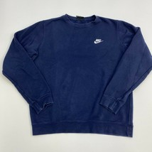 Nike Sweater Mens Medium Blue Crew Neck Swoosh Spell out Long Sleeve Casual - $22.95