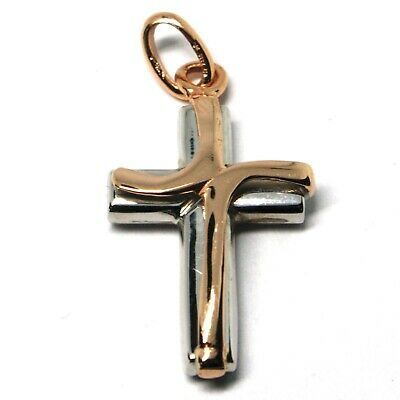 Cross Pendant White Gold and Pink 18k 750 Crucifix Made in Italy Jewel