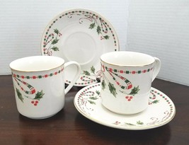 Gibson Festive Traditions Christmas Set of 2 Tea Cups & Saucer Dinnerware Dishes - $18.95