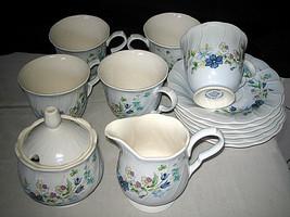 NIKKO Blue tulips cups saucers creamer sugar bowl 14-pc Lot - $34.99