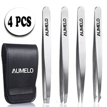 Tweezers Set 4-Piece Professional Stainless Steel with Travel Cas - $11.76